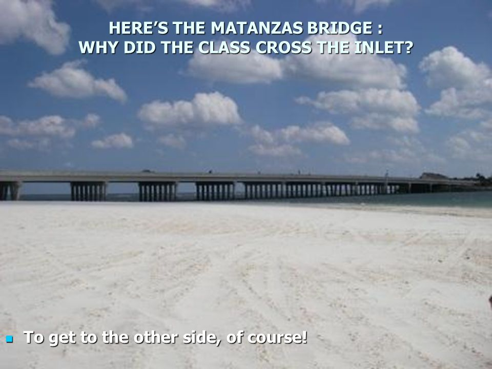 HERE'S THE MATANZAS BRIDGE : WHY DID THE CLASS CROSS THE INLET