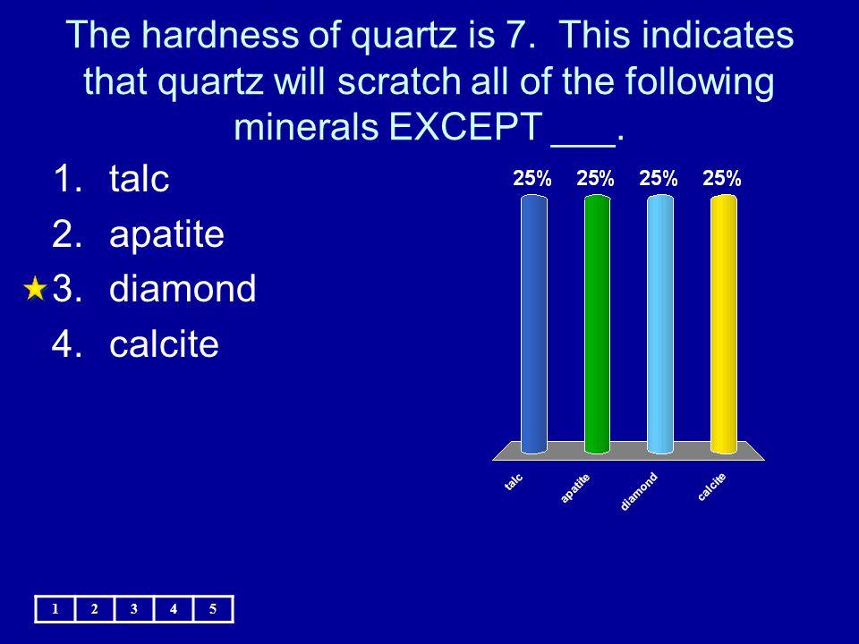 The hardness of quartz is 7