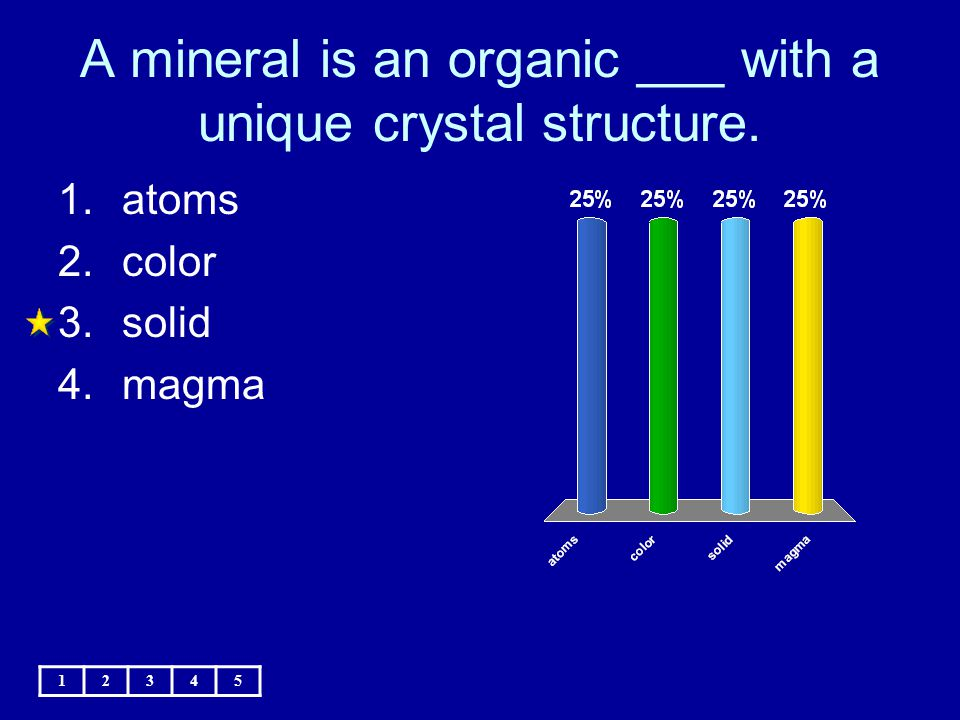 A mineral is an organic ___ with a unique crystal structure.