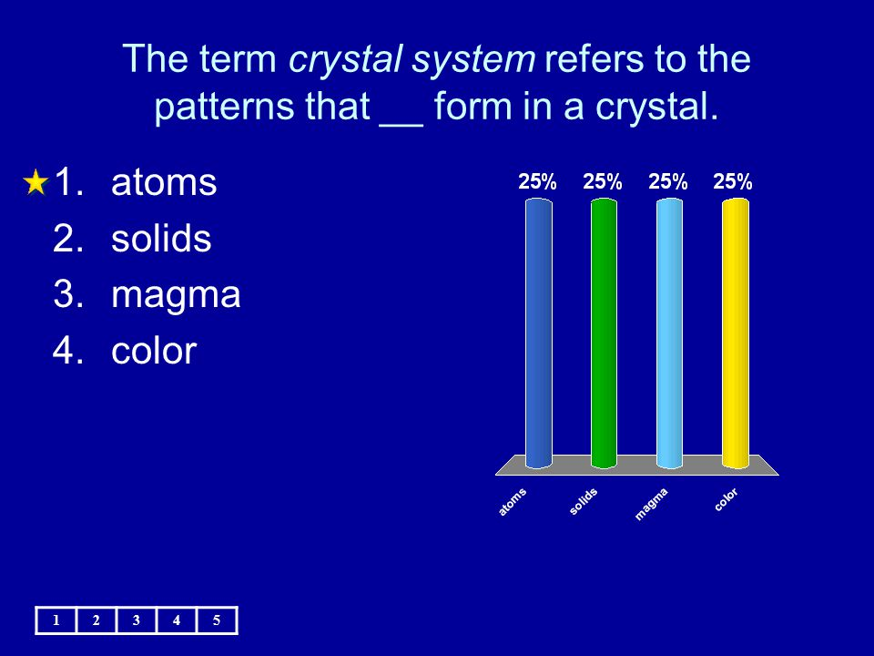 The term crystal system refers to the patterns that __ form in a crystal.