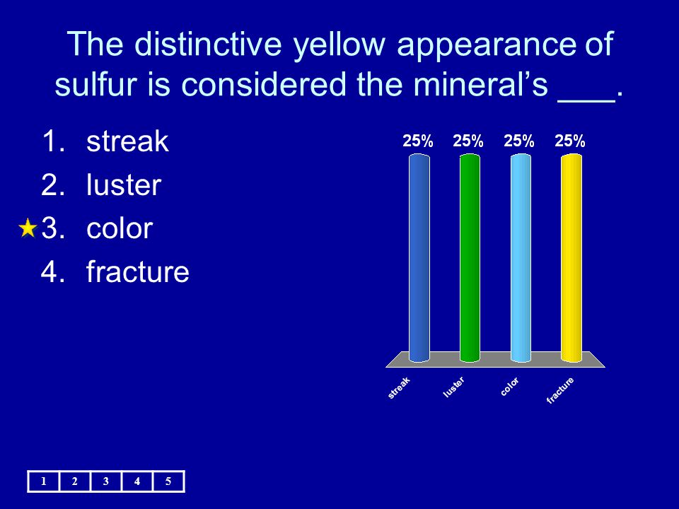 The distinctive yellow appearance of sulfur is considered the mineral's ___.