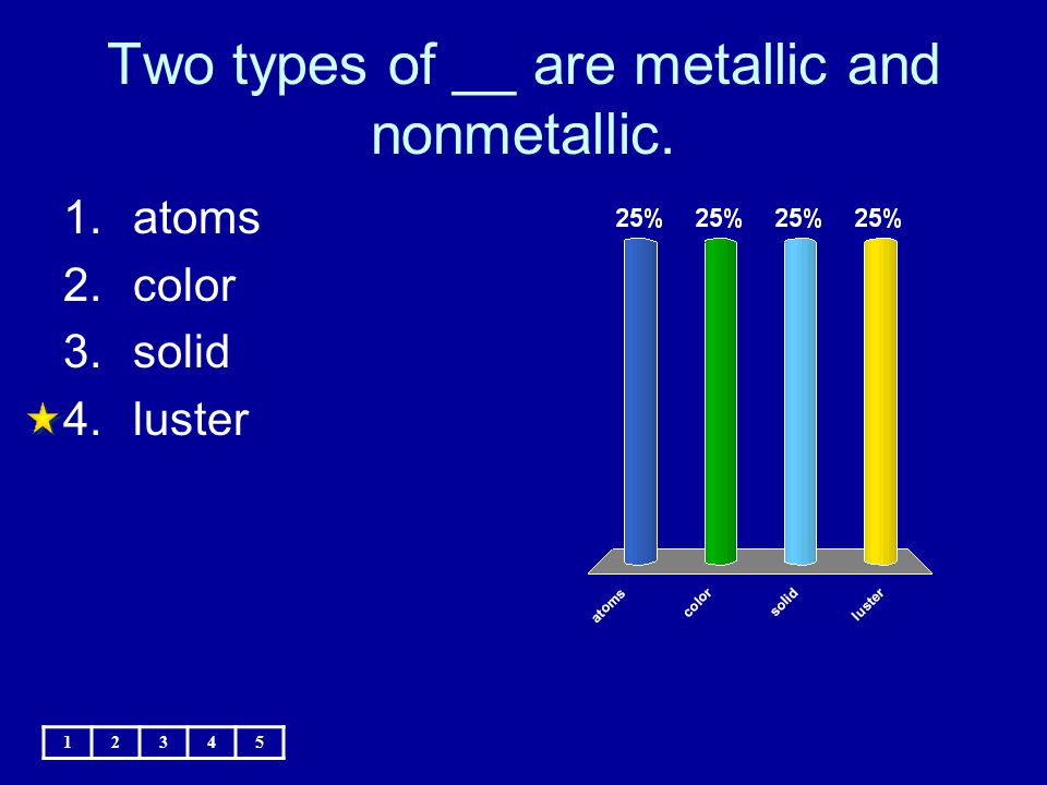 Two types of __ are metallic and nonmetallic.