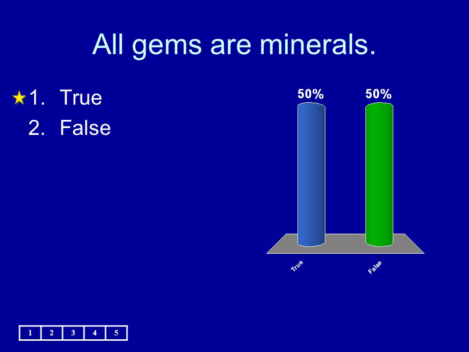 All gems are minerals. True False 1 2 3 4 5