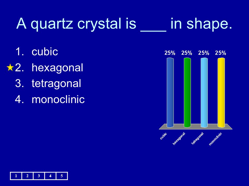 A quartz crystal is ___ in shape.
