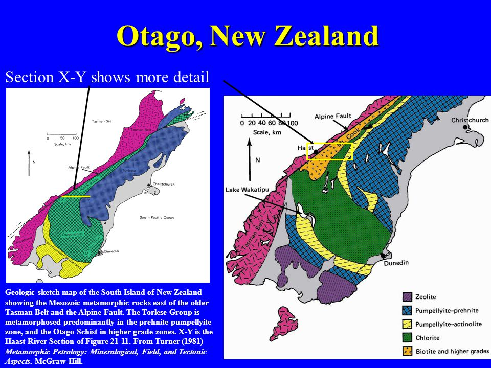 Otago, New Zealand Section X-Y shows more detail