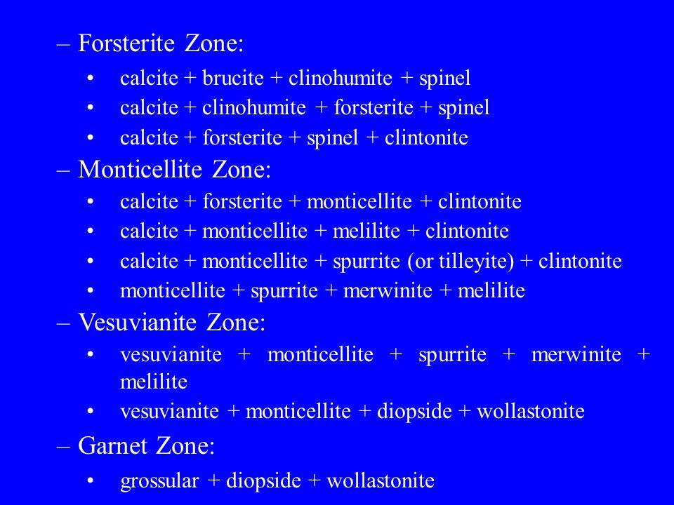 Forsterite Zone: Monticellite Zone: Vesuvianite Zone: Garnet Zone: