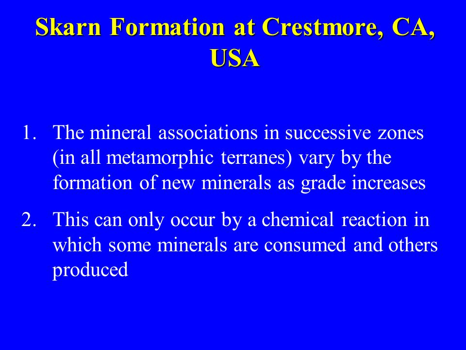 Skarn Formation at Crestmore, CA, USA