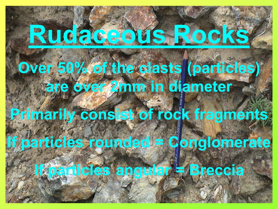 Rudaceous Rocks Over 50% of the clasts (particles) are over 2mm in diameter. Primarily consist of rock fragments.