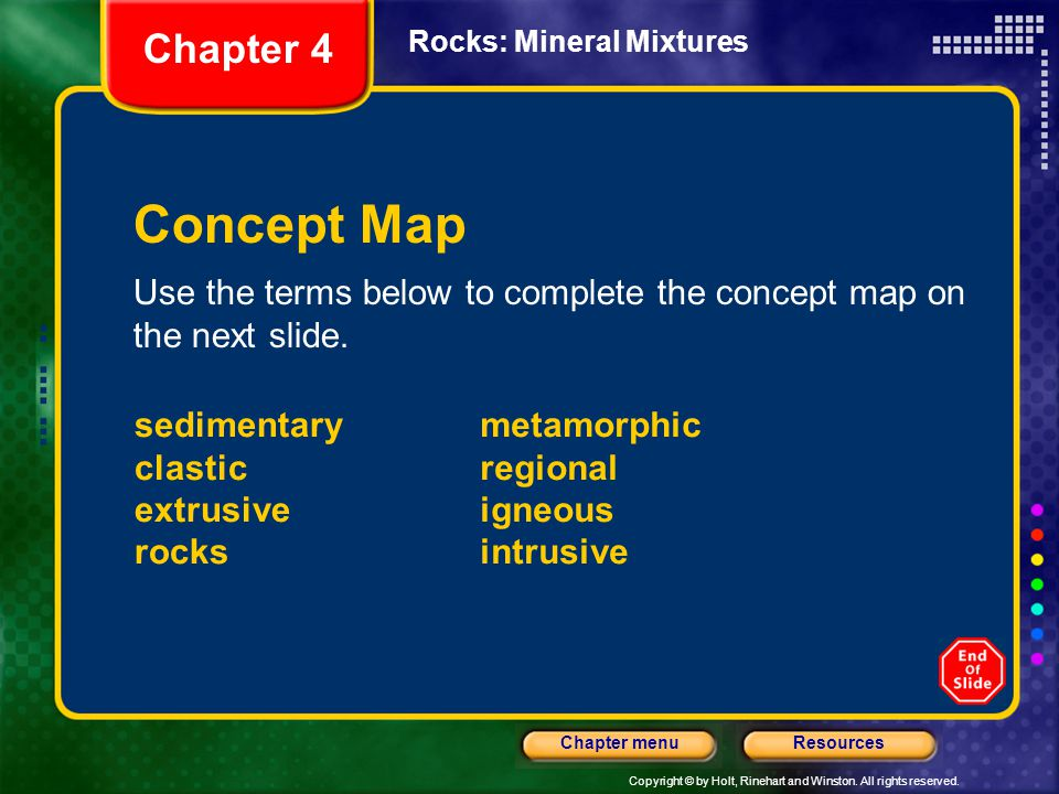 Chapter 4 Rocks: Mineral Mixtures. Concept Map. Use the terms below to complete the concept map on the next slide.
