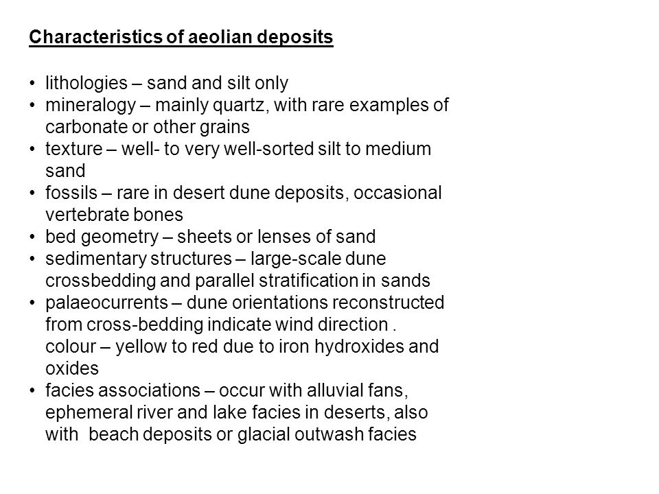 Characteristics of aeolian deposits