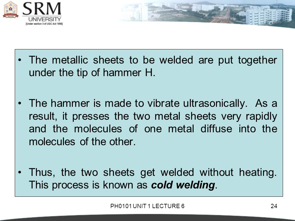 The metallic sheets to be welded are put together under the tip of hammer H.
