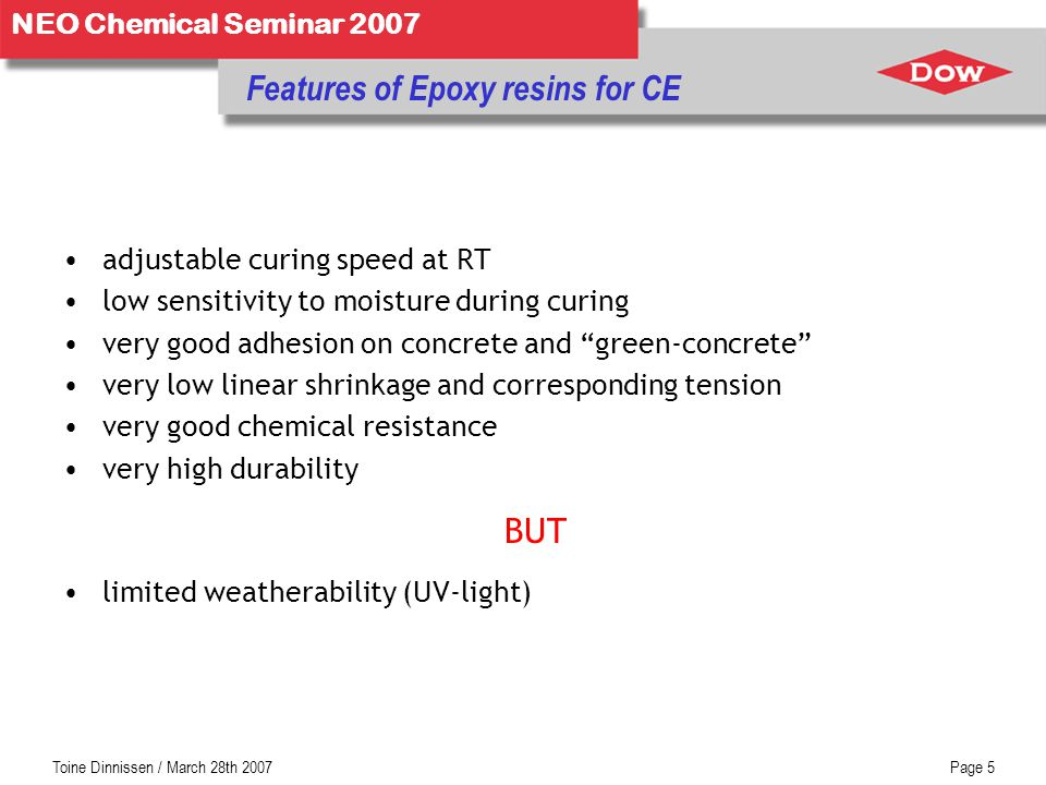 Features of Epoxy resins for CE