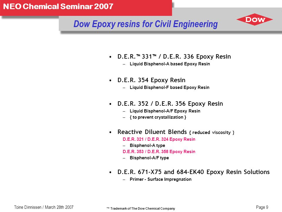 Dow Epoxy resins for Civil Engineering