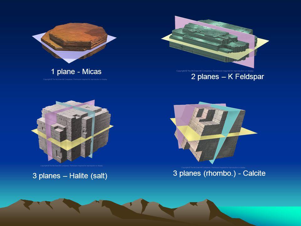 1 plane - Micas 2 planes – K Feldspar 3 planes – Halite (salt) 3 planes (rhombo.) - Calcite