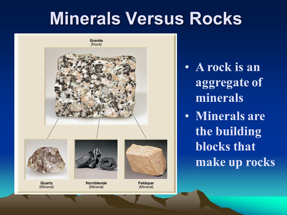 Minerals Versus Rocks A rock is an aggregate of minerals