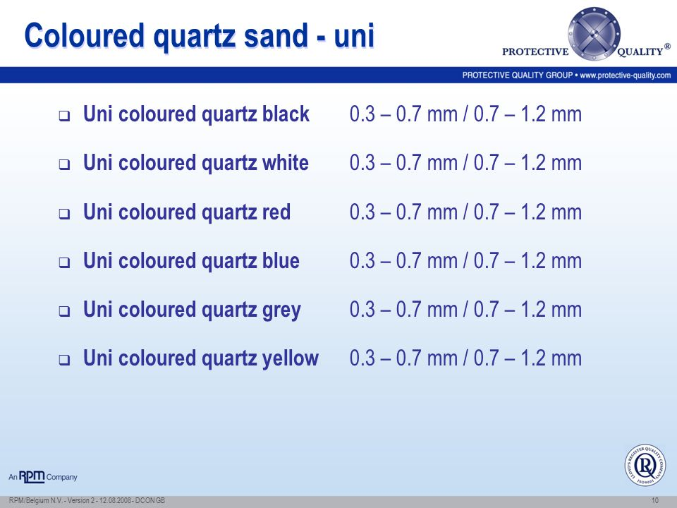Coloured quartz sand - uni