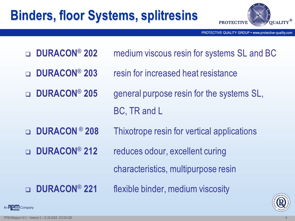 Binders, floor Systems, splitresins
