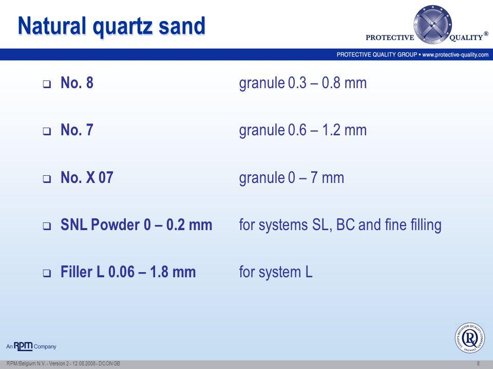 Natural quartz sand No. 8 granule 0.3 – 0.8 mm