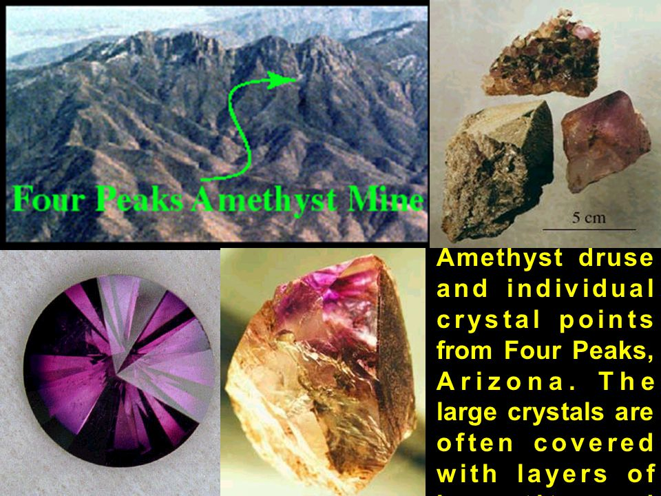 Amethyst druse and individual crystal points from Four Peaks, Arizona