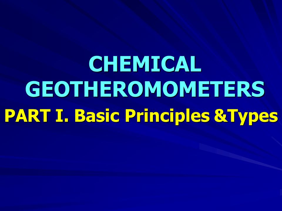 CHEMICAL GEOTHEROMOMETERS