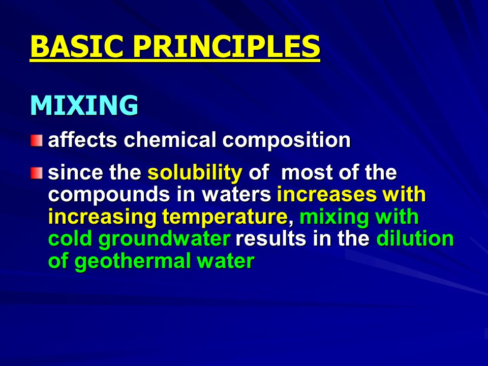 BASIC PRINCIPLES MIXING affects chemical composition