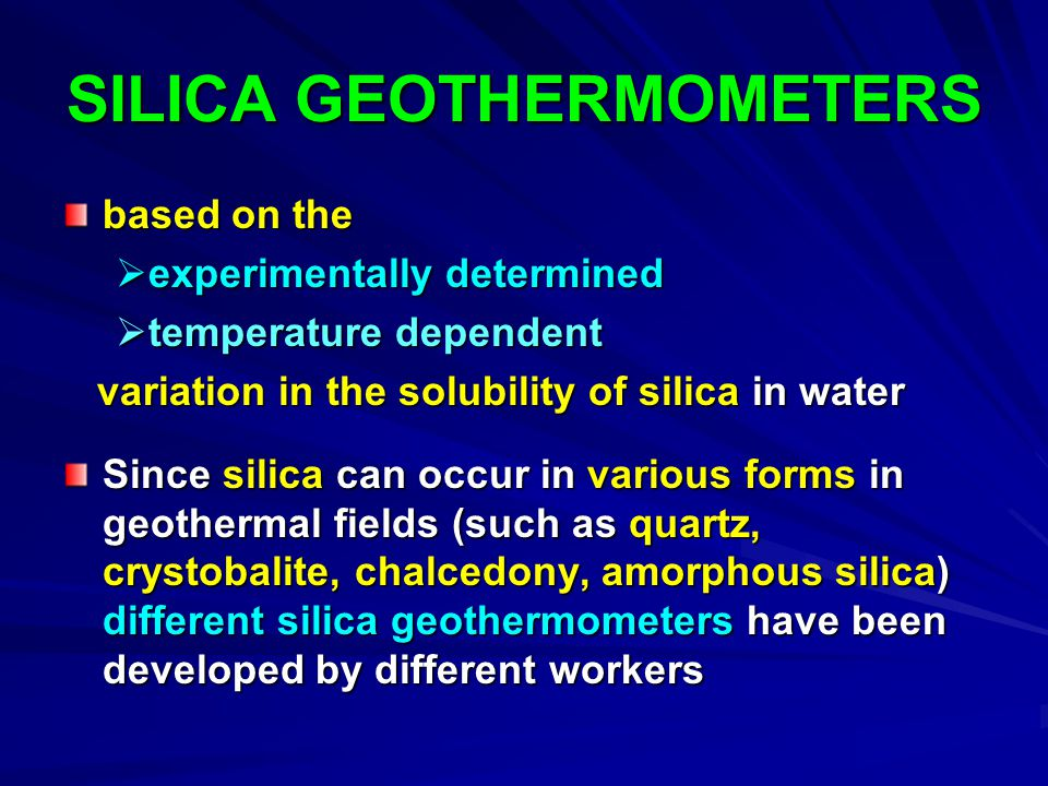SILICA GEOTHERMOMETERS