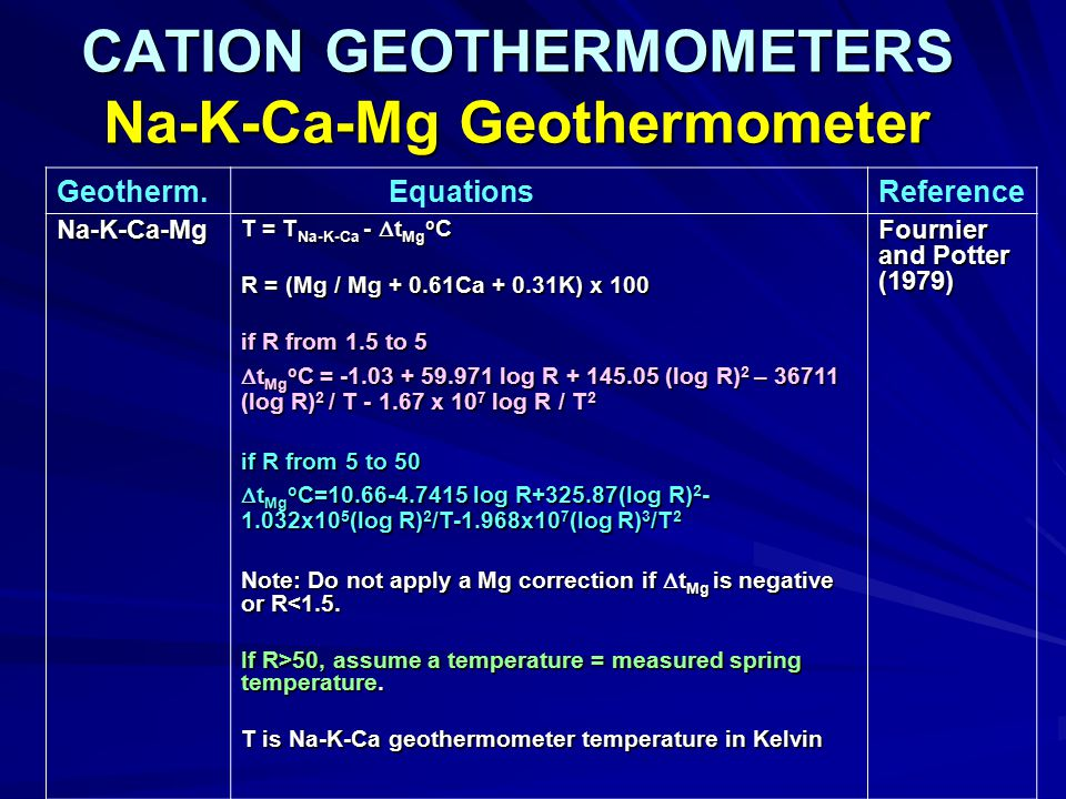 CATION GEOTHERMOMETERS Na-K-Ca-Mg Geothermometer
