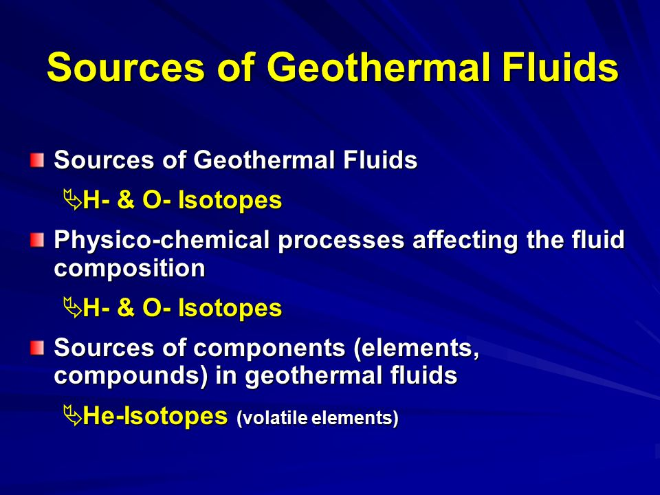 Sources of Geothermal Fluids