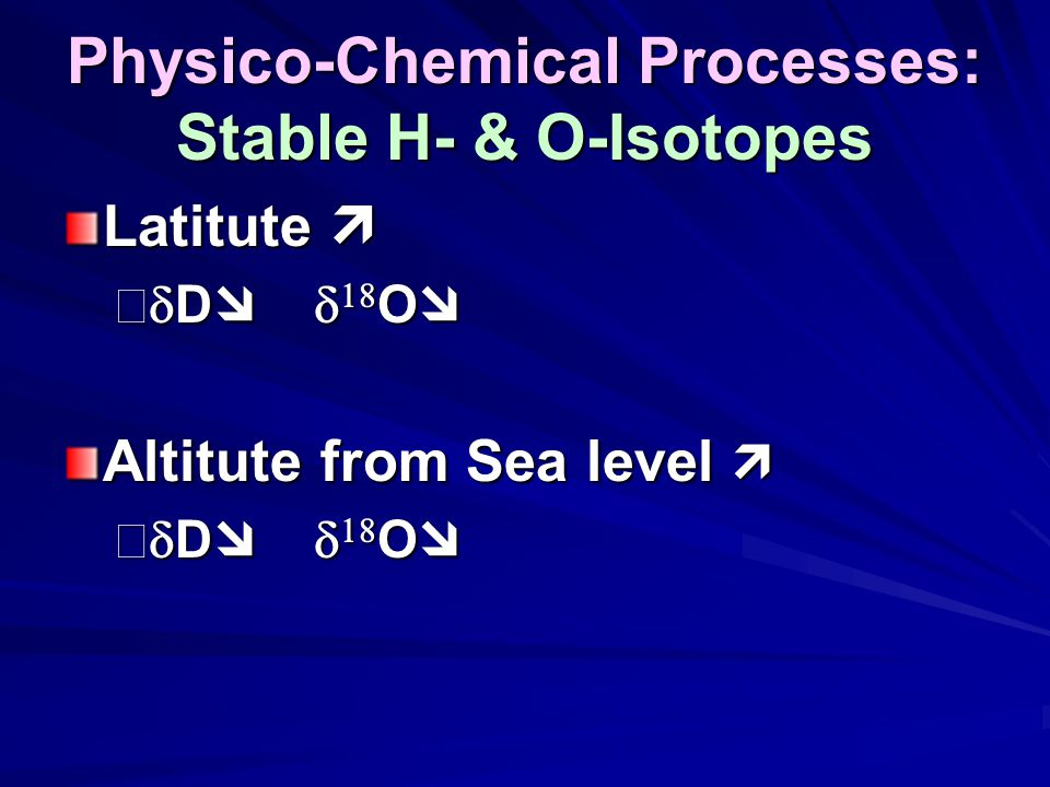 Physico-Chemical Processes: Stable H- & O-Isotopes