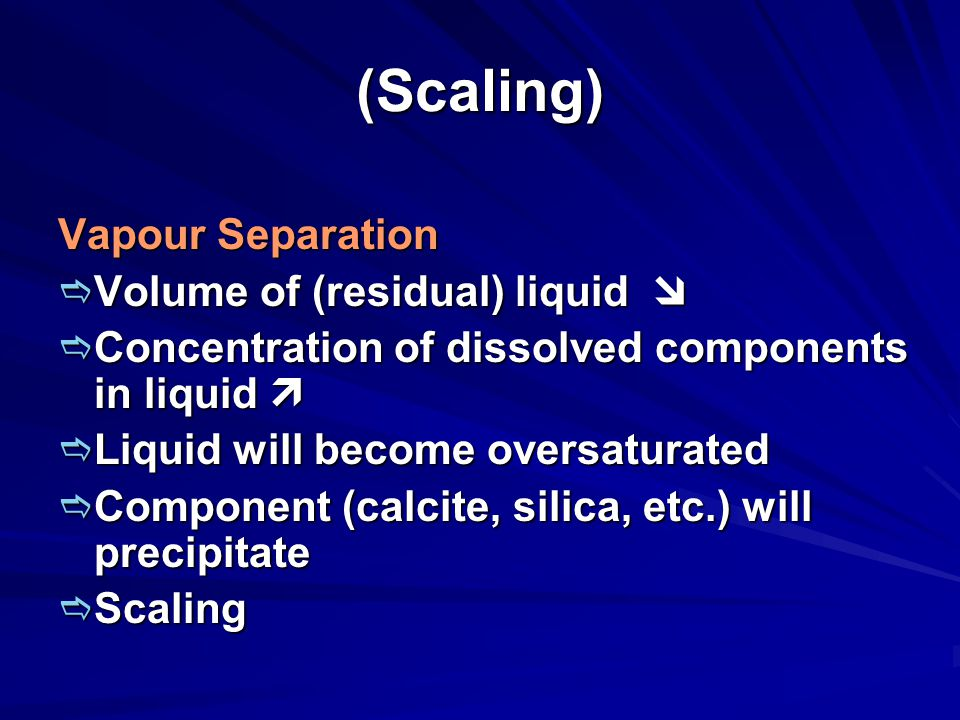(Scaling) Vapour Separation Volume of (residual) liquid 