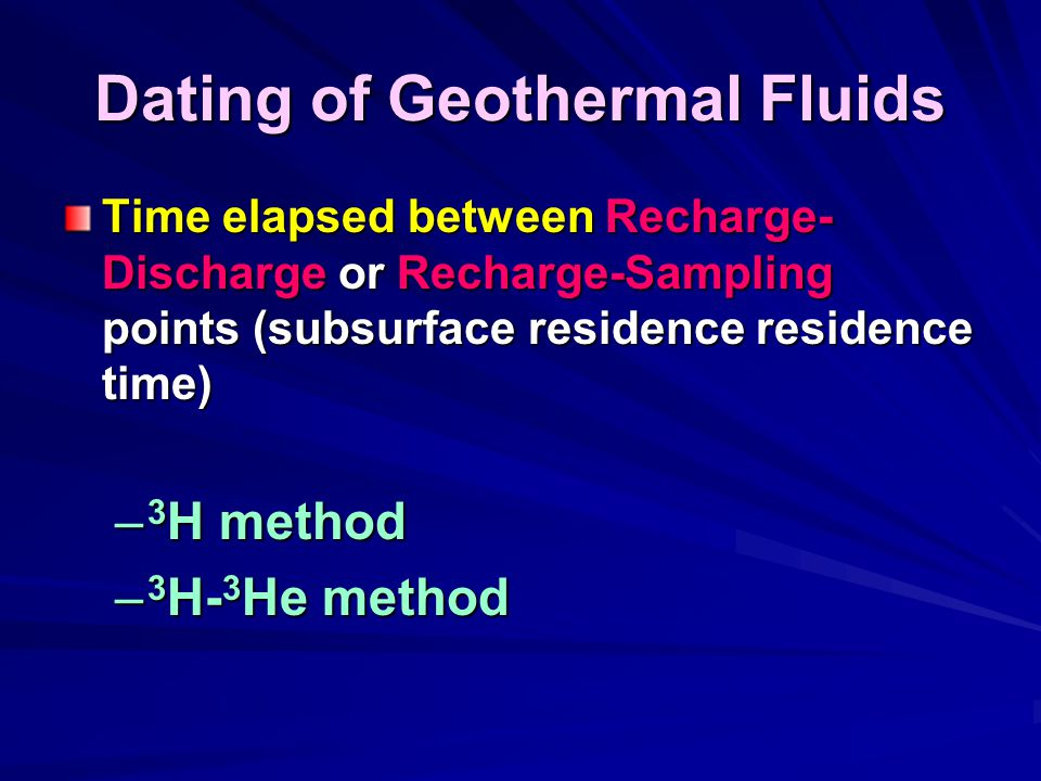 Dating of Geothermal Fluids