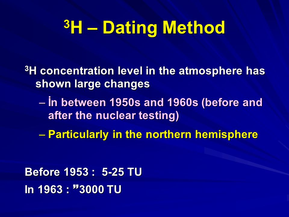 3H – Dating Method 3H concentration level in the atmosphere has shown large changes.