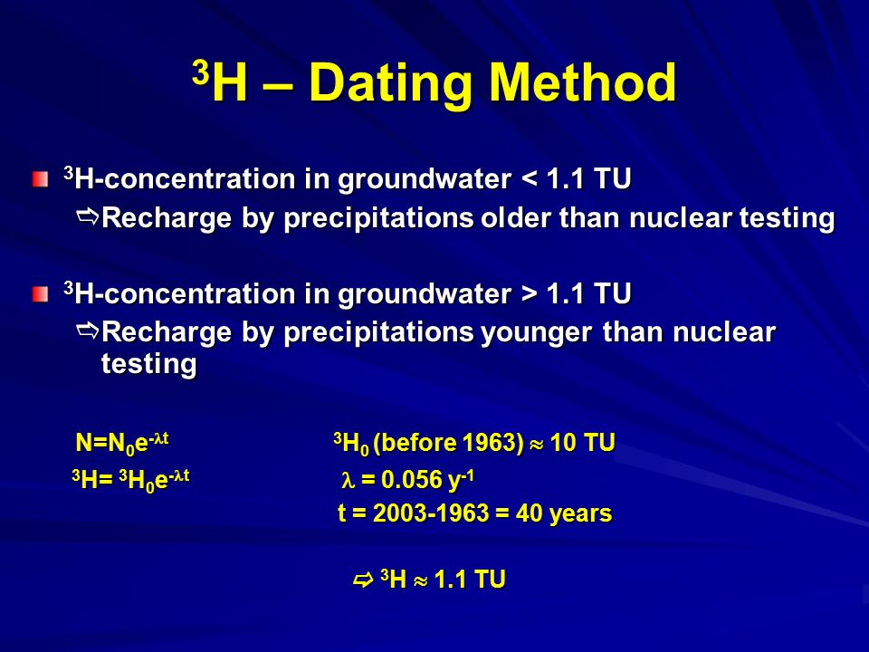3H – Dating Method N=N0e-t 3H0 (before 1963)  10 TU