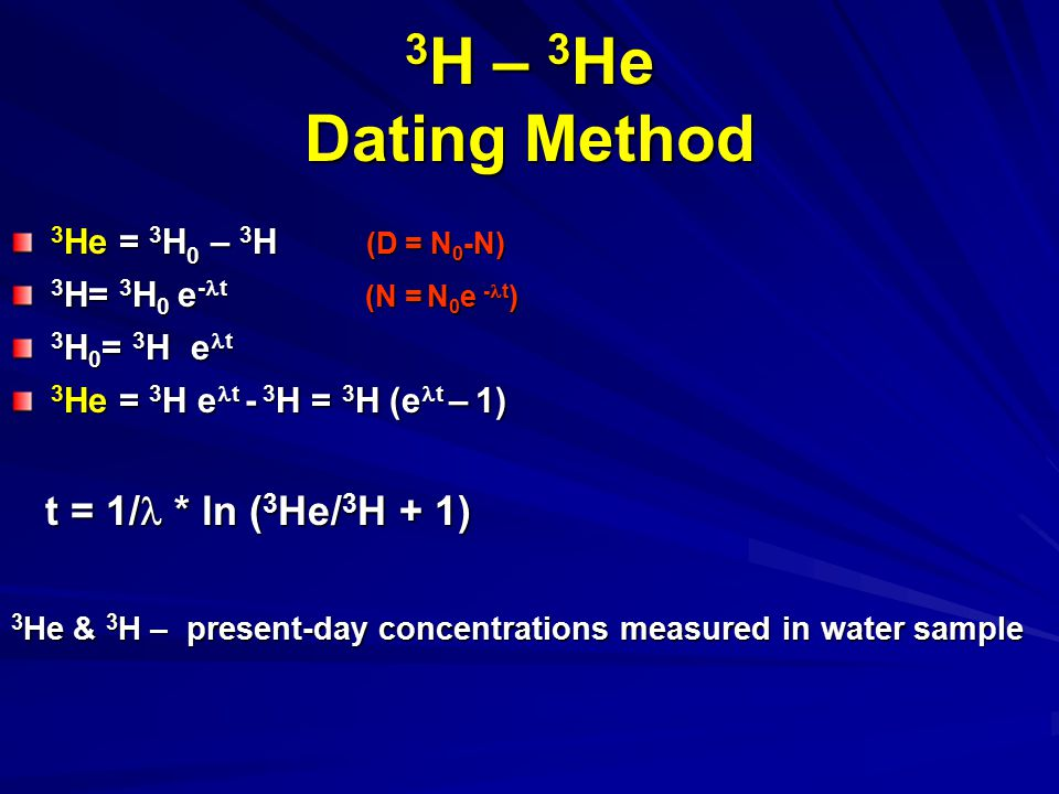 3H – 3He Dating Method t = 1/ * ln (3He/3H + 1)