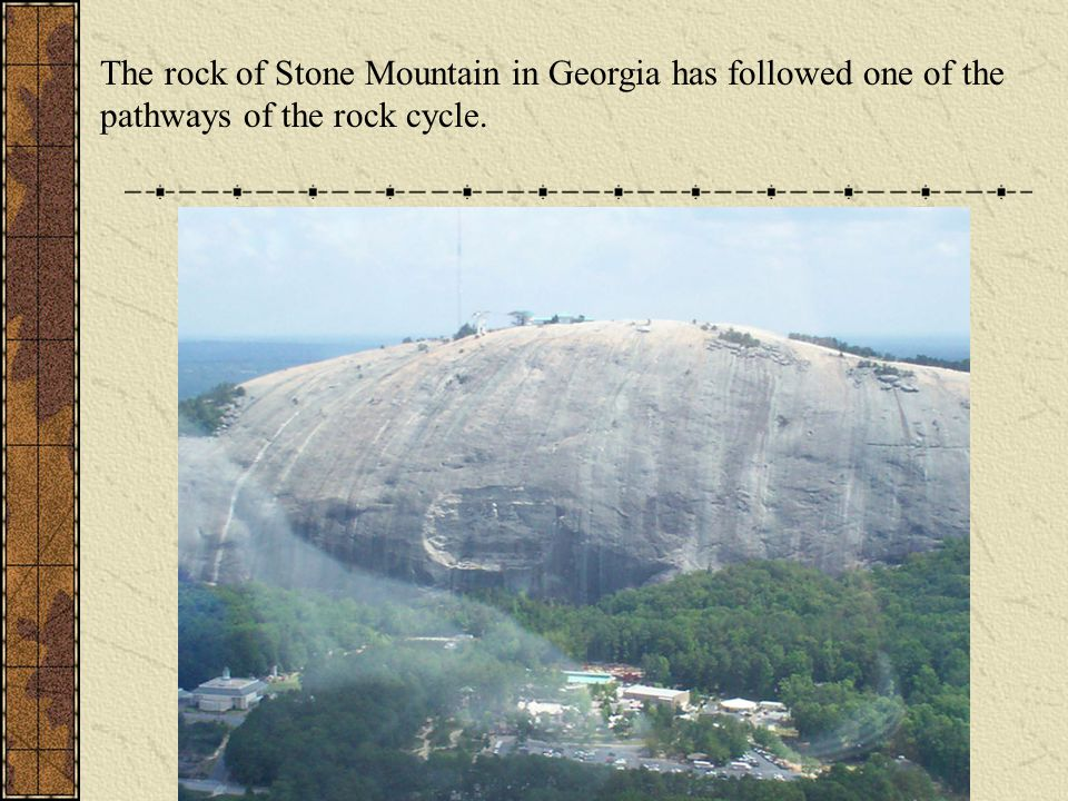 The rock of Stone Mountain in Georgia has followed one of the pathways of the rock cycle.