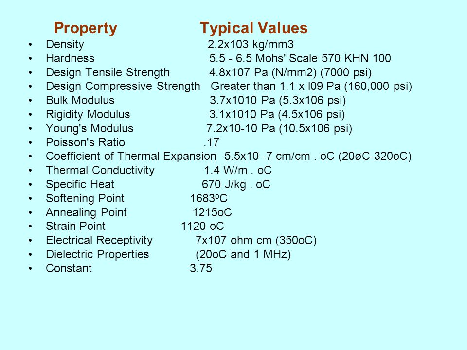 Property Typical Values