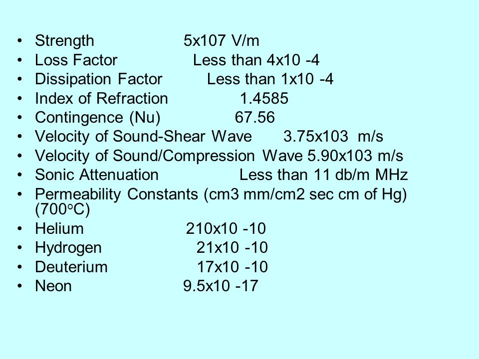 Strength 5x107 V/m Loss Factor Less than 4x10 -4. Dissipation Factor Less than 1x10 -4.