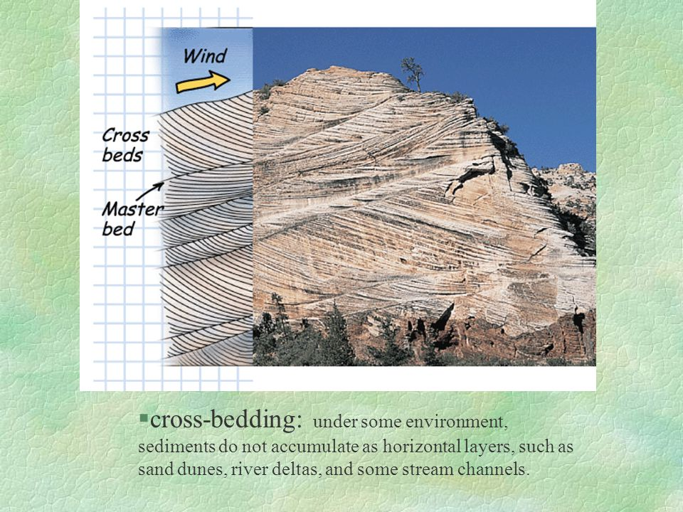 cross-bedding: under some environment, sediments do not accumulate as horizontal layers, such as sand dunes, river deltas, and some stream channels.