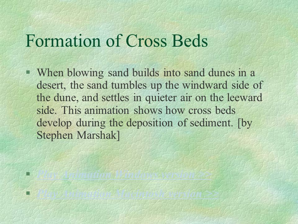 Formation of Cross Beds