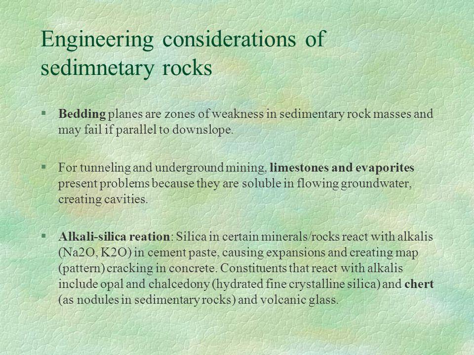 Engineering considerations of sedimnetary rocks