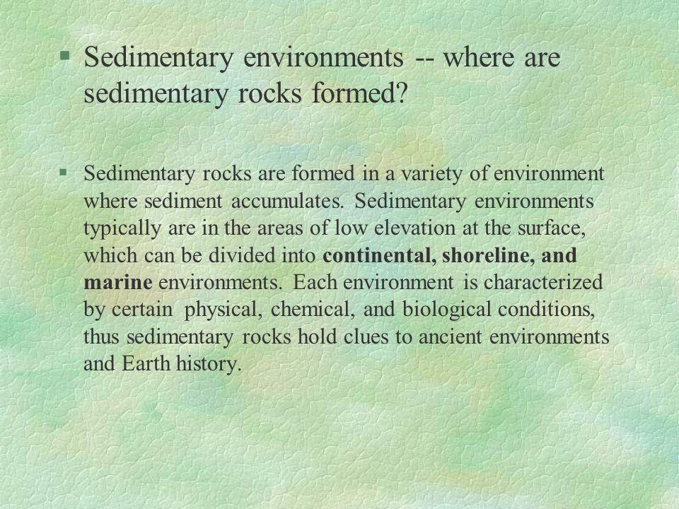 Sedimentary environments -- where are sedimentary rocks formed