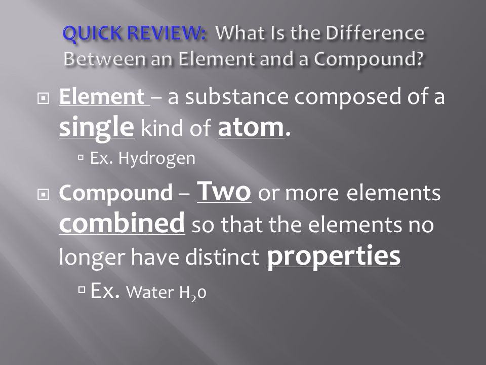 Element – a substance composed of a single kind of atom.