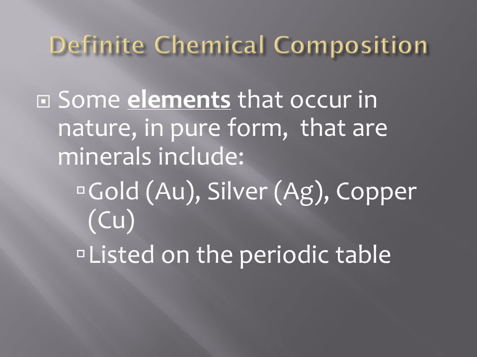 Definite Chemical Composition