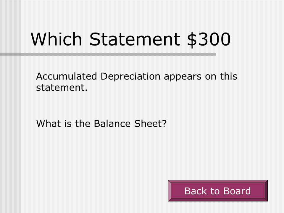 Which Statement $300 Accumulated Depreciation appears on this statement. What is the Balance Sheet