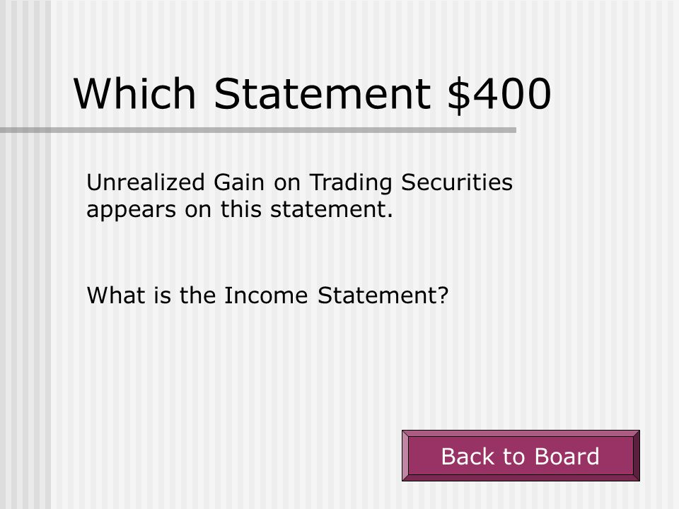Which Statement $400 Unrealized Gain on Trading Securities appears on this statement. What is the Income Statement