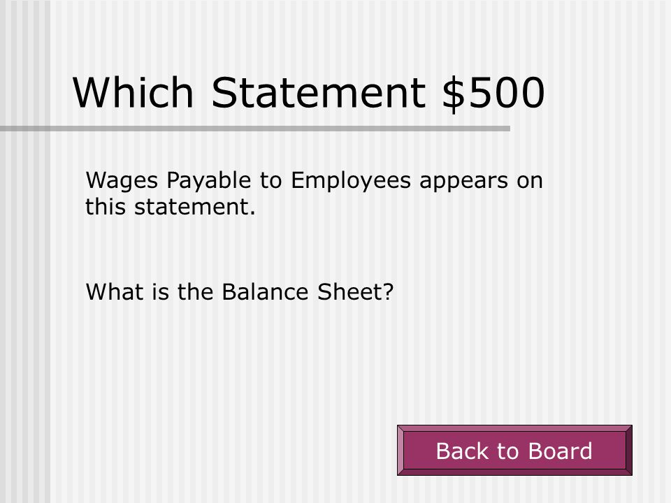 Which Statement $500 Wages Payable to Employees appears on this statement. What is the Balance Sheet