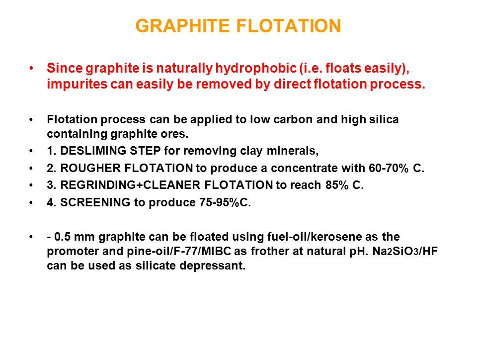 GRAPHITE FLOTATION Since graphite is naturally hydrophobic (i.e. floats easily), impurites can easily be removed by direct flotation process.