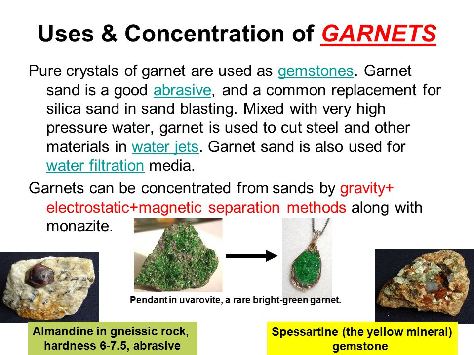 Uses & Concentration of GARNETS