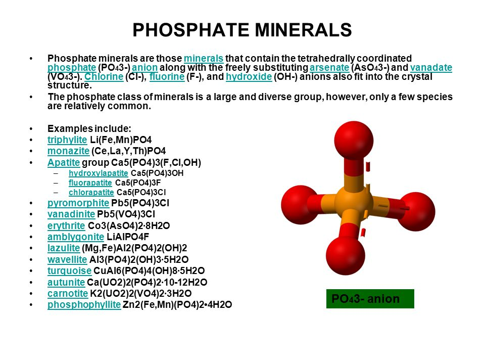 PHOSPHATE MINERALS PO43- anion