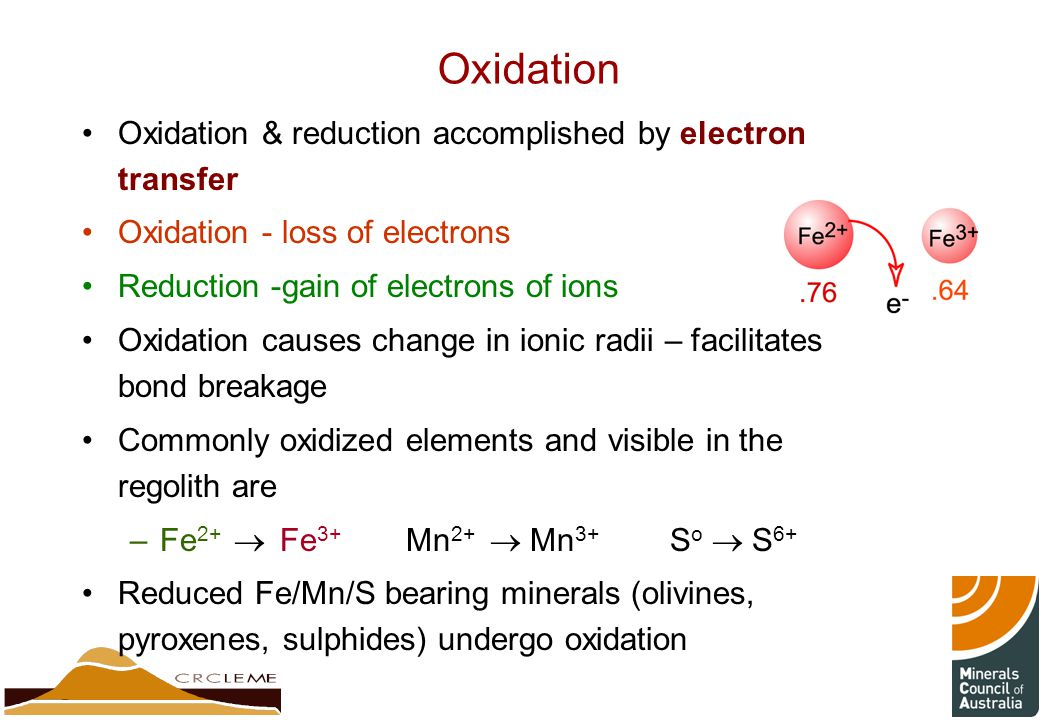 Oxidation Oxidation & reduction accomplished by electron transfer